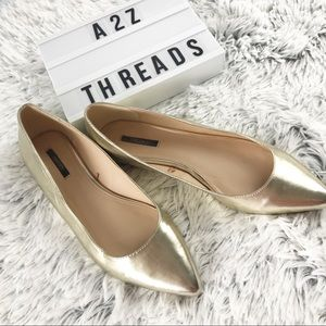 Forever 21 Metallic Gold Pointed Toe Flats